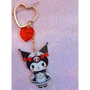 Kuromi Key Chain French Maid Red Heart Charm